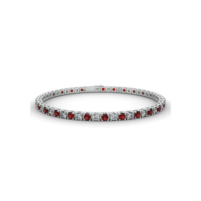 Alliance Diamants rouges 4 Grains Or Blanc 1.00 Carat