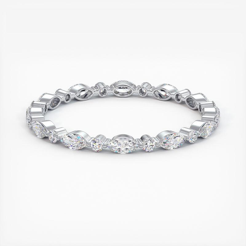 Alliance Diamants Rail Baguettes Diamants Rail et Saphirs Bleus 5.00 Carats