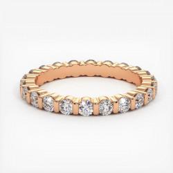 Demi Alliance Diamants Saphirs Roses Princesses Rail Or Blanc 2.00 Carats