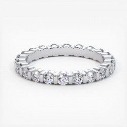 Demi Alliance Diamants Saphirs Bleus Princesses Rail Or Blanc 3.00 Carats