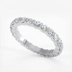 Demi Alliance Diamants Saphirs Roses Princesses Rail Or Blanc 3.00 Carats