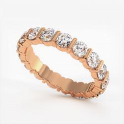 Demi Alliance Diamants Saphirs Roses Princesses Rail Or Blanc 0.70 Carat