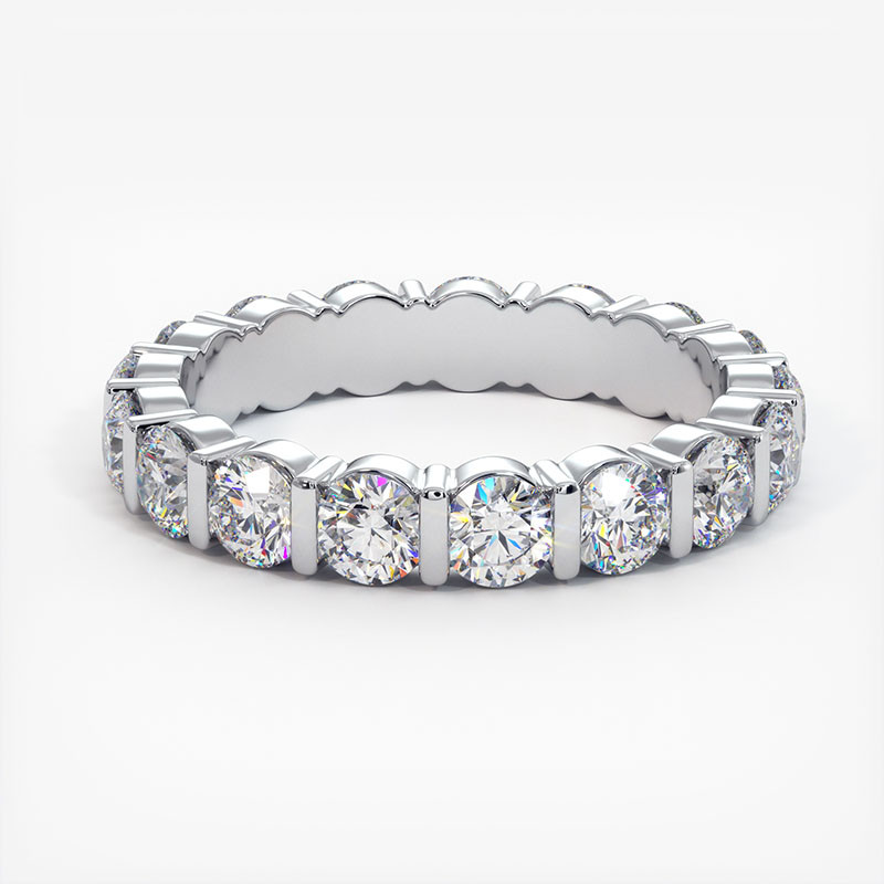 Demi Alliance Diamants Rubis Princesses Rail Or Blanc 0.70 Carat