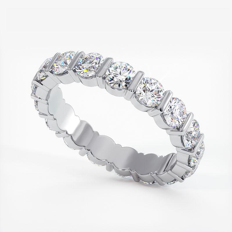 Demi Alliance Diamants Princesses Rail Or Blanc 0.80 Carat
