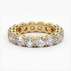 Demi Alliance Diamants Saphirs Bleus Princesses Rail Or Jaune 3.00 Carats