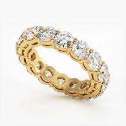 Demi Alliance Diamants Saphirs Roses Princesses Rail Or Jaune 3.00 Carats