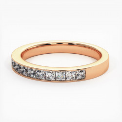 Demi Alliance Diamants Rubis Princesses Rail Or Jaune 3.00 Carats
