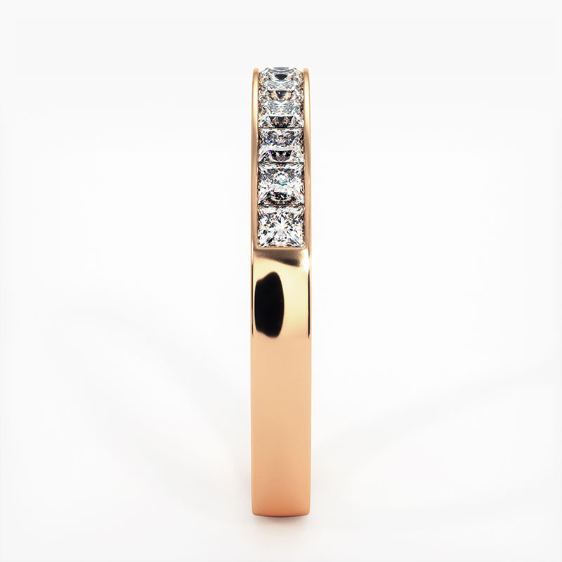 Demi Alliance Diamants Princesses Rail Or Jaune 0.50 Carat