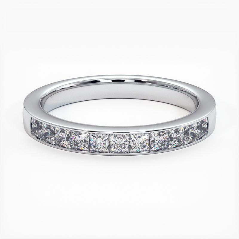 Demi Alliance Diamants Saphirs Bleus Princesses Rail Or Jaune 0.70 Carat