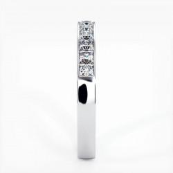 Demi Alliance Diamants Saphirs Roses Princesses Rail Or Jaune 0.70 Carat