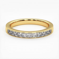 Demi Alliance Diamants Rubis Princesses Rail Or Jaune 0.70 Carat