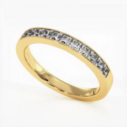 Demi Alliance Diamants Princesses Rail Or Jaune 0.80 Carat