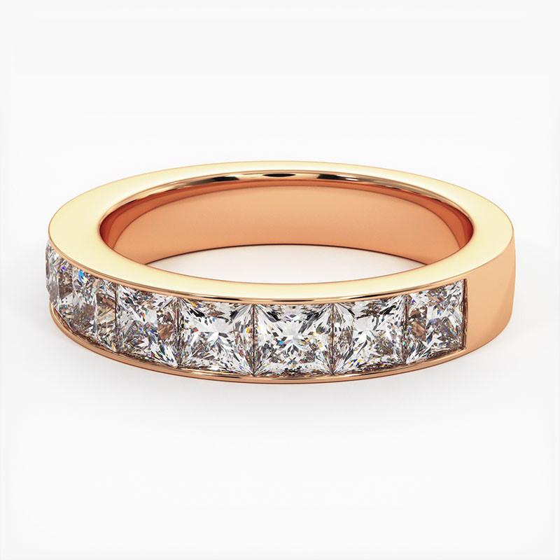 Demi Alliance Diamants rouges Rail Or Blanc 0.22 Carat