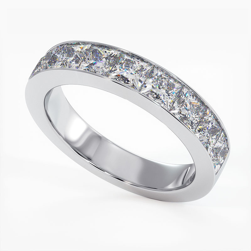 Demi Alliance Diamants Rail Or Jaune 1.00 Carat