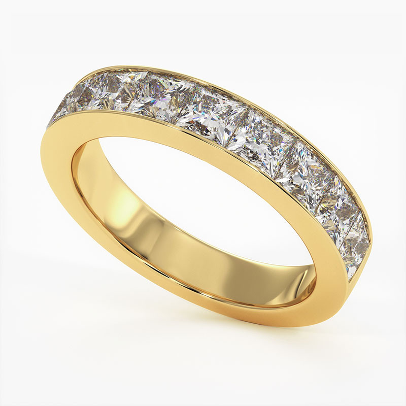 Demi Alliance Diamants Rail Or Jaune 2.00 Carats